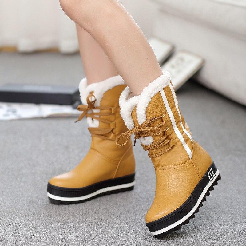 Platform Mid-Calf Winter Boots with Fur Snow Boots Waterproof Fashion Female Black Warm Women Shoes Plus Size 35-43 QBT1090 цена