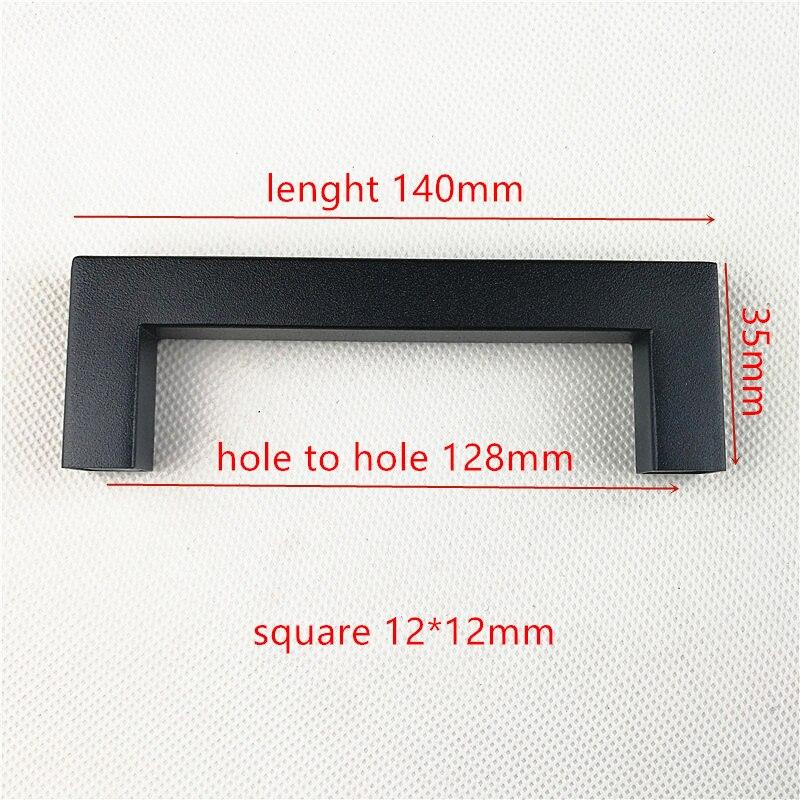 """Матовая черная квадратная ручка из нержавеющей стали Ручка для кухонной двери мебельный ящик """"~ 24"""" - Цвет: Hole spacing 128mm"""