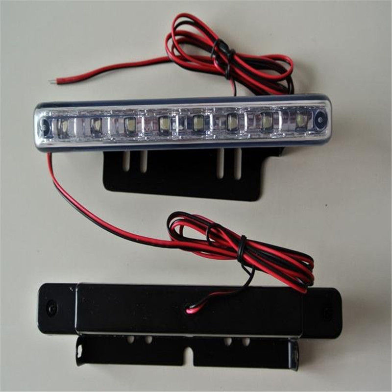 2pcs/pack Durable Car Truck Van Daytime Running Light Head Lamp White 8 LED DRL Daylight Kit A1757 18o External Lights 2pcs 12w h3 xenon 480lm white cre eled car auto drl parking driving running lamp fog light head lamp 4 led drl daylight kit