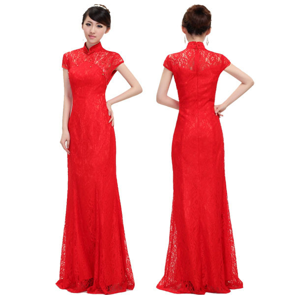 6107ae40da Free Shipping Fancy Red Lace Evening Gown Floor Length Prom Party  Homecoming Cheongsam Long Dress Formal Wear Plus Size SD126