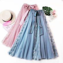 New Spring Summer Women's Skirts High Waist Solid Bow Belt Midi  Skirt Elegant Lace Hollow  Long tulle Pleated Women Skirt 2019