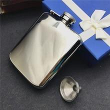 Классическая фляжка из нержавеющей стали(ручная работа) 304, 6 унций, спиртовая фляжка с высококачественной зеркальной поверхностью и винтовой крышкой