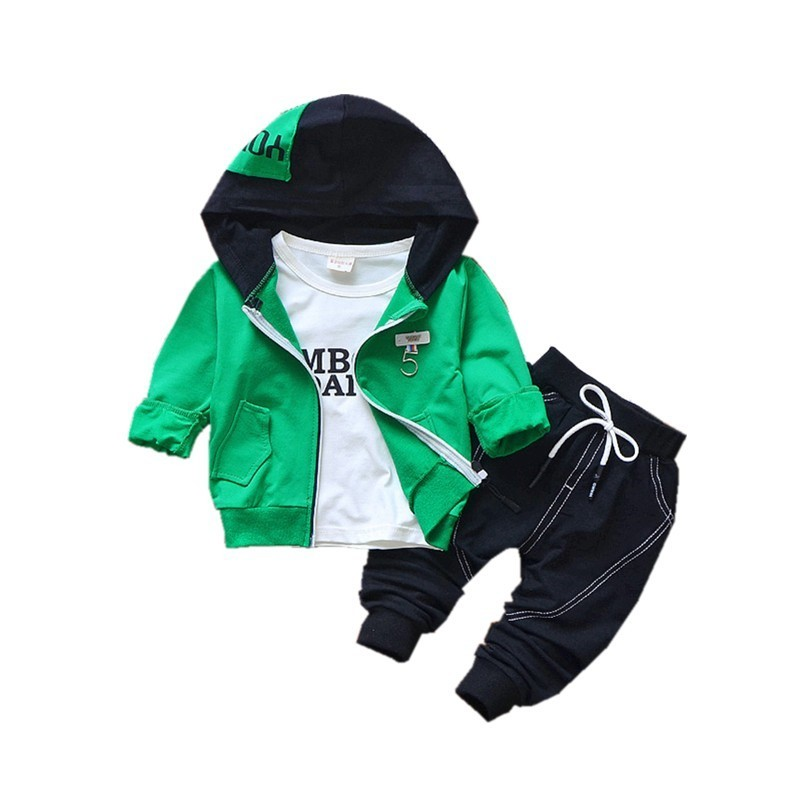 2018 Spring Autumn Children Cotton Clothing Sets Fashion Baby Hooded Jacket T-shirt Pants 3 Pcs/sets Boy Tracksuit Infant Outfit new hot sale 2016 korean style boy autumn and spring baby boy short sleeve t shirt children fashion tees t shirt ages