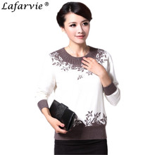 Lafarvie Quality Slim Knitted Cashmere Sweater Women Tops Full sleeve O-neck Printing Beading Winter Fashion Pullovers Female