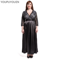 6XL Plus Size Women Lace Stitching 3/4 Sleeve Party Maxi Dress Elegant Summer Black V Neck Long Dresses 2019 Fashion Vestidos