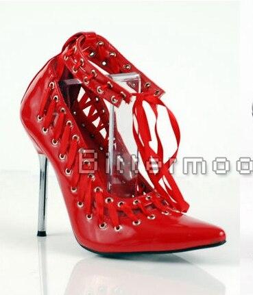 Leather Métal Bas Pompes custom Pointu À Chaussures rouge Femmes Taille Cuir Lacets Talons En Verni 2017 Noir Grande De Color Bout Aiguilles Patent Rouges pwTz0R1