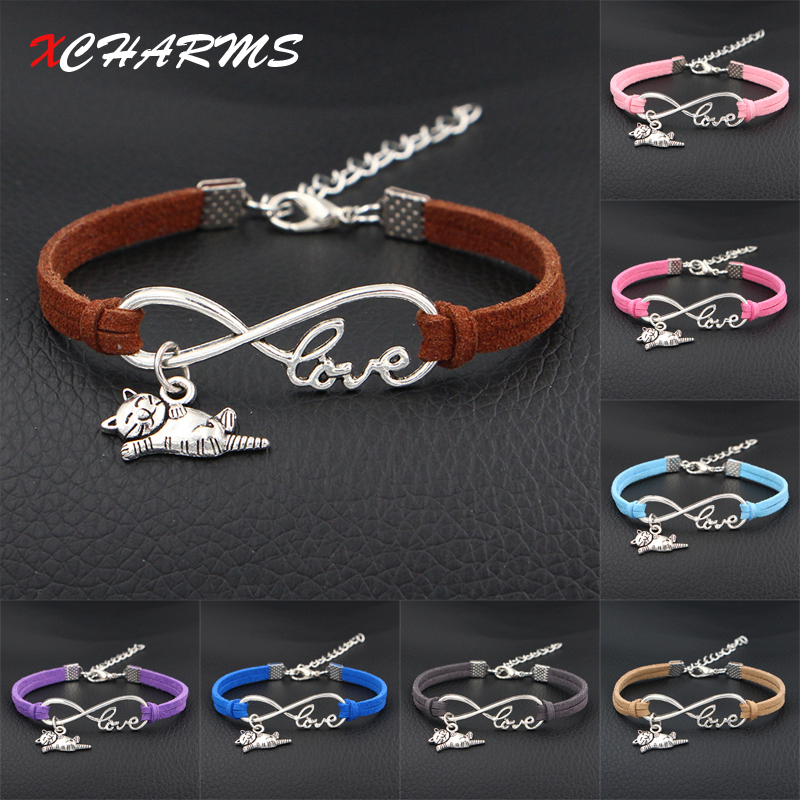 2018 New I Love My Happy Cat Animal Charms Bracelet Antique Silver Infinity Love Leather Bracelets For Women Fashion Jewelry