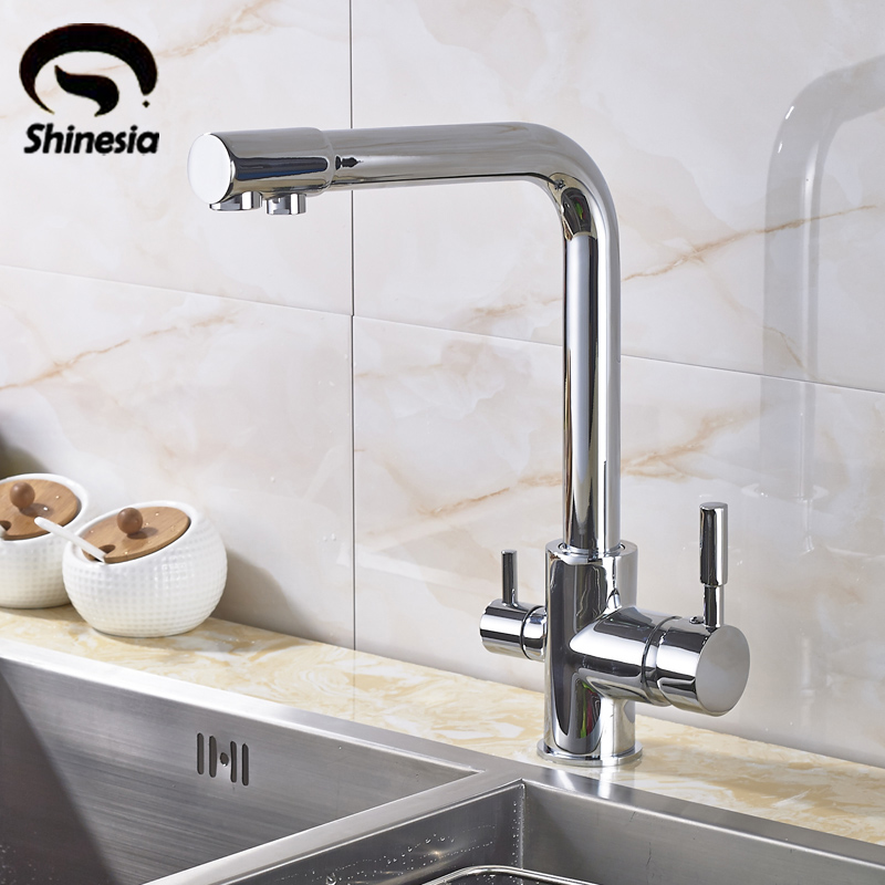 New Chrome Pure Water Kitchen Sink Faucet Swivel Spout Purification Mixer Tap With Purified Water outlet becola new design kitchen faucet fashion unique styling brass chrome faucet swivel spout sink mixer tap b 0005