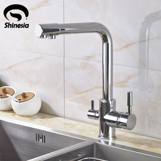 New Chrome Pure Water Kitchen Sink Faucet Swivel Spout Purification Mixer Tap With Purified Water outlet