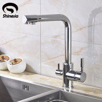 New Chrome Kitchen Sink Faucet Swivel Spout Mixer Tap With Purified Water Outlet
