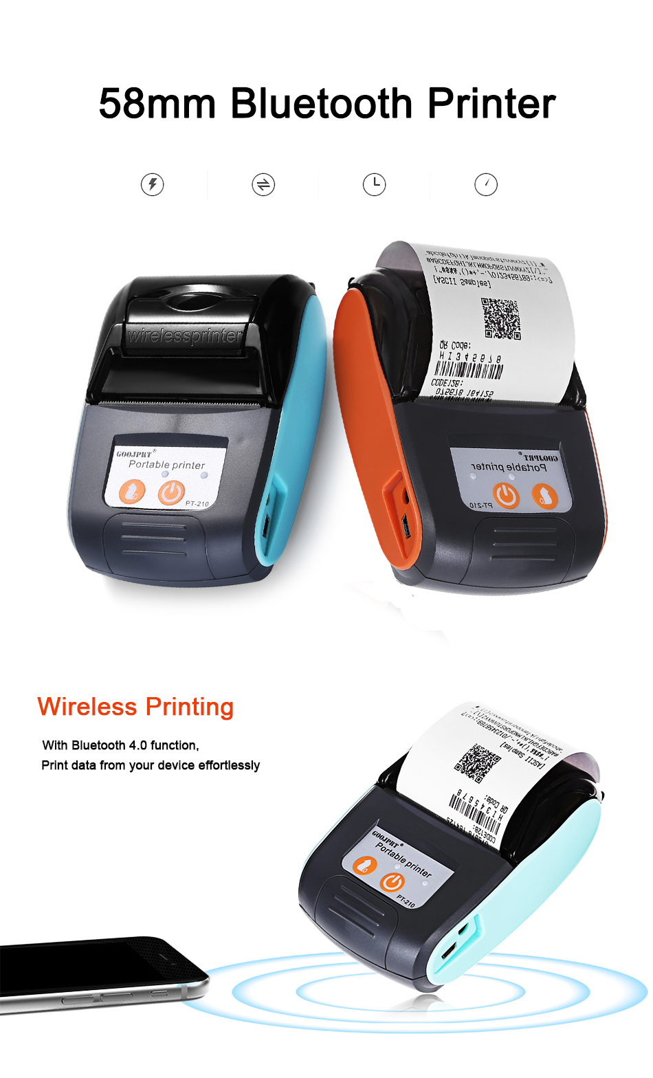 HOT SALE] POS 58mm Bluetooth Thermal Receipt Printer Mini Portable