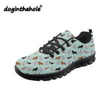 цена doginthehole Fashion Sneakers Women King Charles Spaniel Printing Flat Shoes Women Breathable Mesh Flats for Teenagers Sneaker онлайн в 2017 году