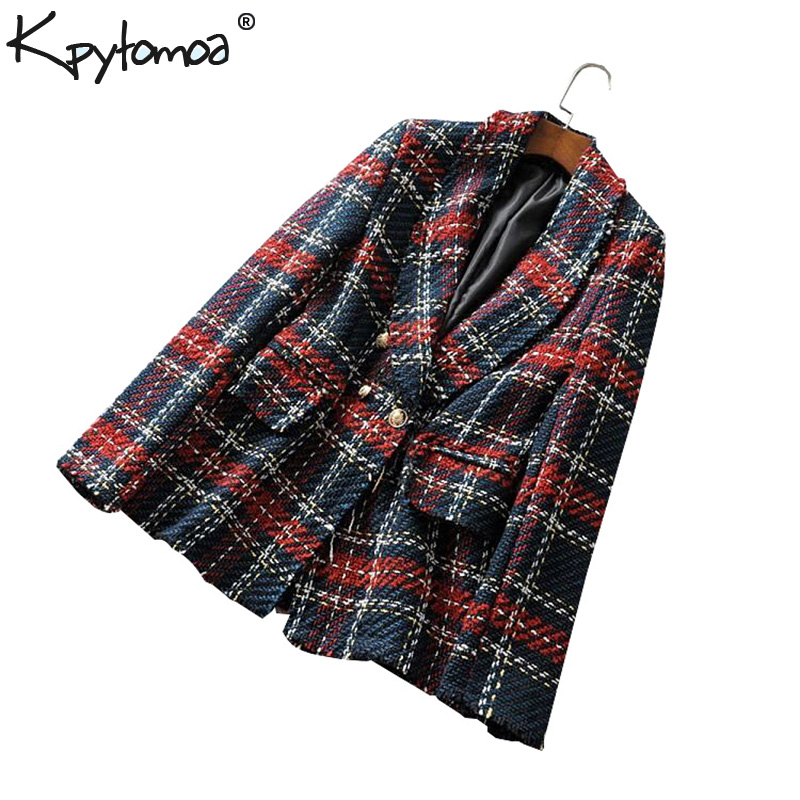 Vintage Double Breasted Frayed Plaid Tweed Blazers Coat Women Fashion Long Sleeve Pockets Outerwear Casual Casaco Femme