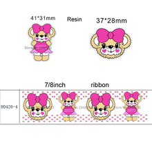 printed Japan Cartoon bear with bow grosgrain ribbon and resin sets 7/8inch 50yard ribbon and 50pcs resin 1 set REB122