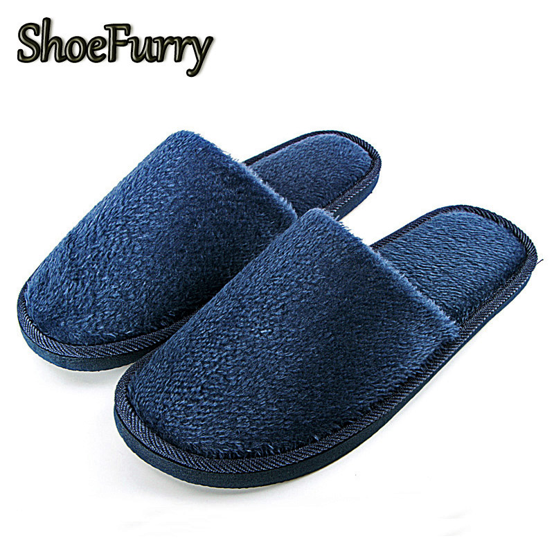 ShoeFurry New Home Slippers Men Casual Shoes Soft Plush Warm Cotton Shoes Man Indoor Slippers Winter Male Bedroom Furry Slippers