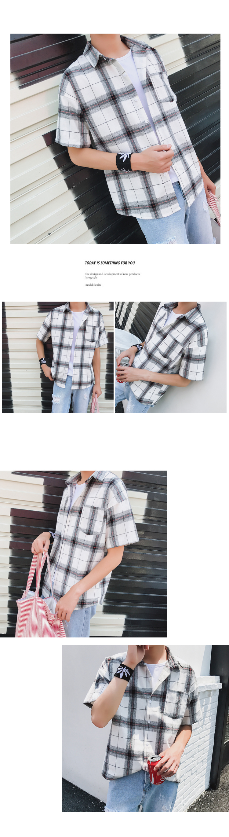 LEGIBLE Men Plaid Short Shirts 2019 Mens Harajuku Streetwear Casual Loose Hip Hop Half Sleeve Shirt Male Fashion 13