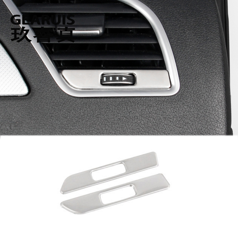 Car Styling AC Outlet Trim Refit Air Outlet Frame Decoration Stickers covers Interior For Audi brand A4 B8 A5 auto Accessories