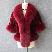 2018 new natural piece mink fur coat with fox fur collar luxury brand women shawls and capes with sleeve big fox fur trim vests