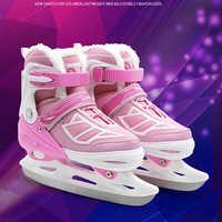 1 paar Erwachsene Frauen Kinder Winter Eis Klinge Skates Schuhe Einstellbare Eis Klinge Warme Thermal Eis Hockey Skating Für Mädchen jungen