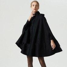 Bohoartist Women Black Woolen Cape Coats Button Loose Casual Ponchos Fashion Autumn Winter Overcoat Female Hot Top Coat