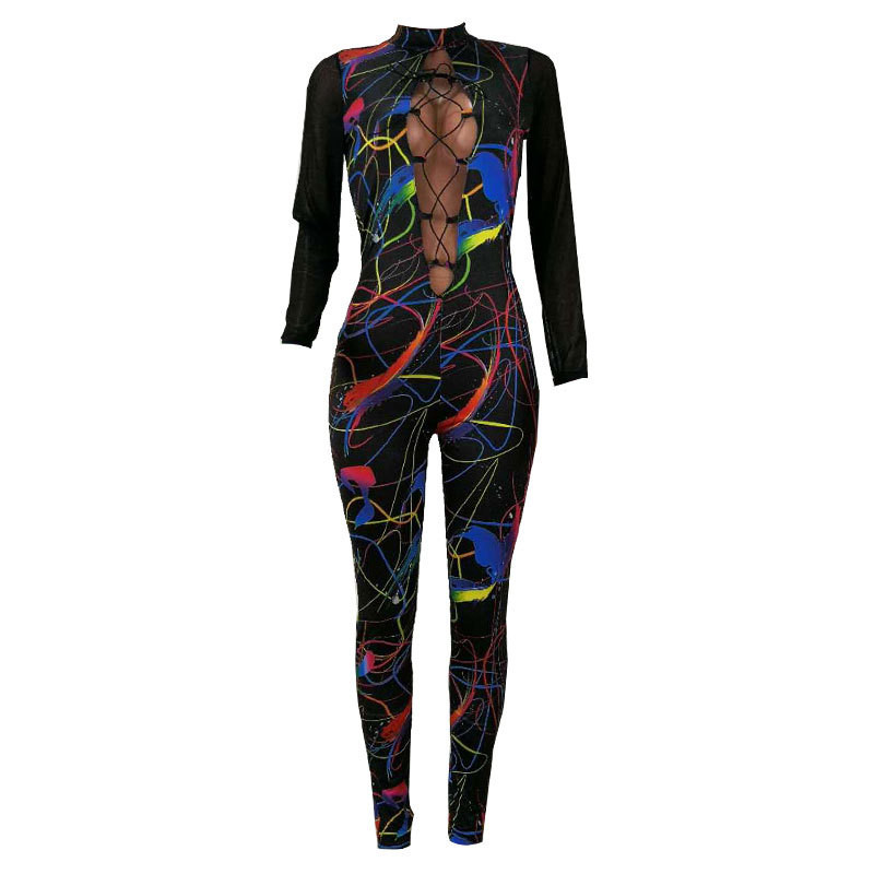 Women Sexy Hollow Out Lace Up Bodycon Jumpsuit See Through Mesh Long Sleeve Rompers Lady Fashion Overalls Party Printed Jumpsuit in Jumpsuits from Women 39 s Clothing
