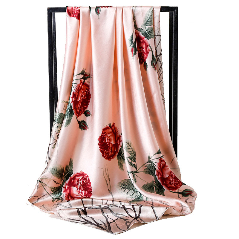 New Fashion Love Rose Flower Imitation Silk   Scarf   Ladies Floral Printting   Scarf   Shawl Valentine's Day Lover Gift Soft Satin   Wrap