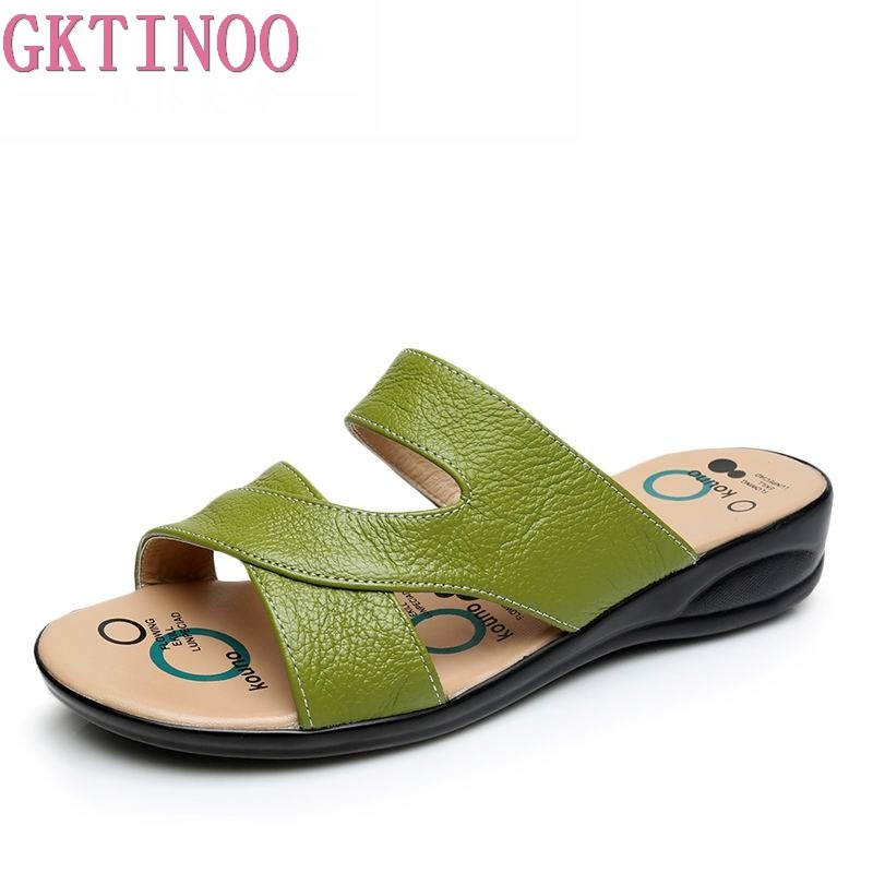 GKTINOO Women Slipper Shoes Genuine Leather Slide Shoes Ladies Outside Flip Flops Women Sandals Women Summer Shoes Big Size