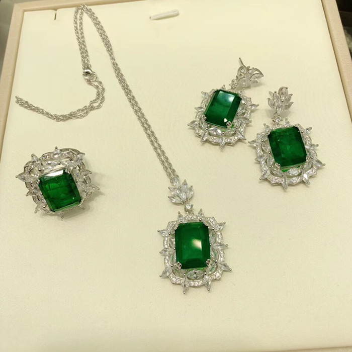 Designer Fashion 925 Sterling Silver Jewelry 3A Cubic Zirconia Party Set