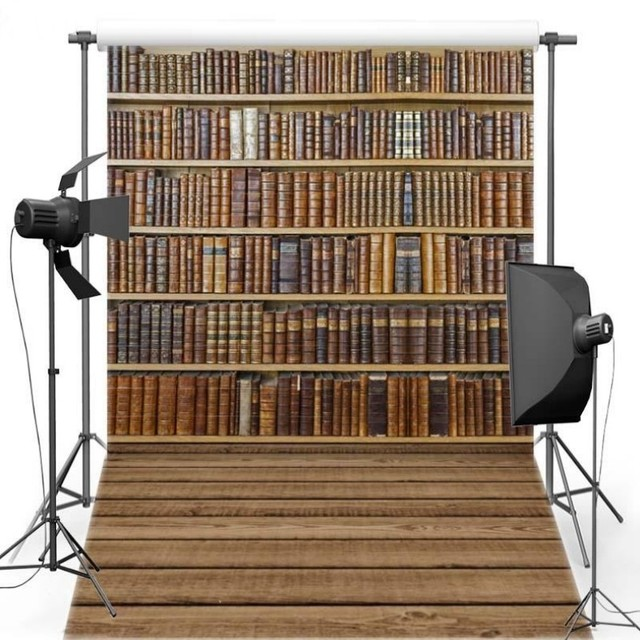 Bookshelf Natural Real Hard Wood Floor Scene Photo Backdrop Vinyl Cloth High Quality Computer Print Wall