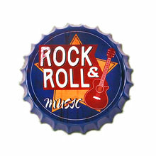Rock & Roll Music Bottle Cap Plate Chic Round Metal Home Wall Decor Painting Bar Pub Club Decoration Art Poster Gift B010