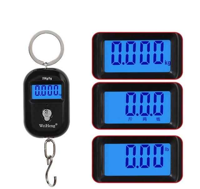 Urijk 25Kg X 5g/10g Mini Digital Hängende Skala LCD Display-hintergrundbeleuchtung Gepäck Skala für Angeln gepäck Reise Elektronische Waage