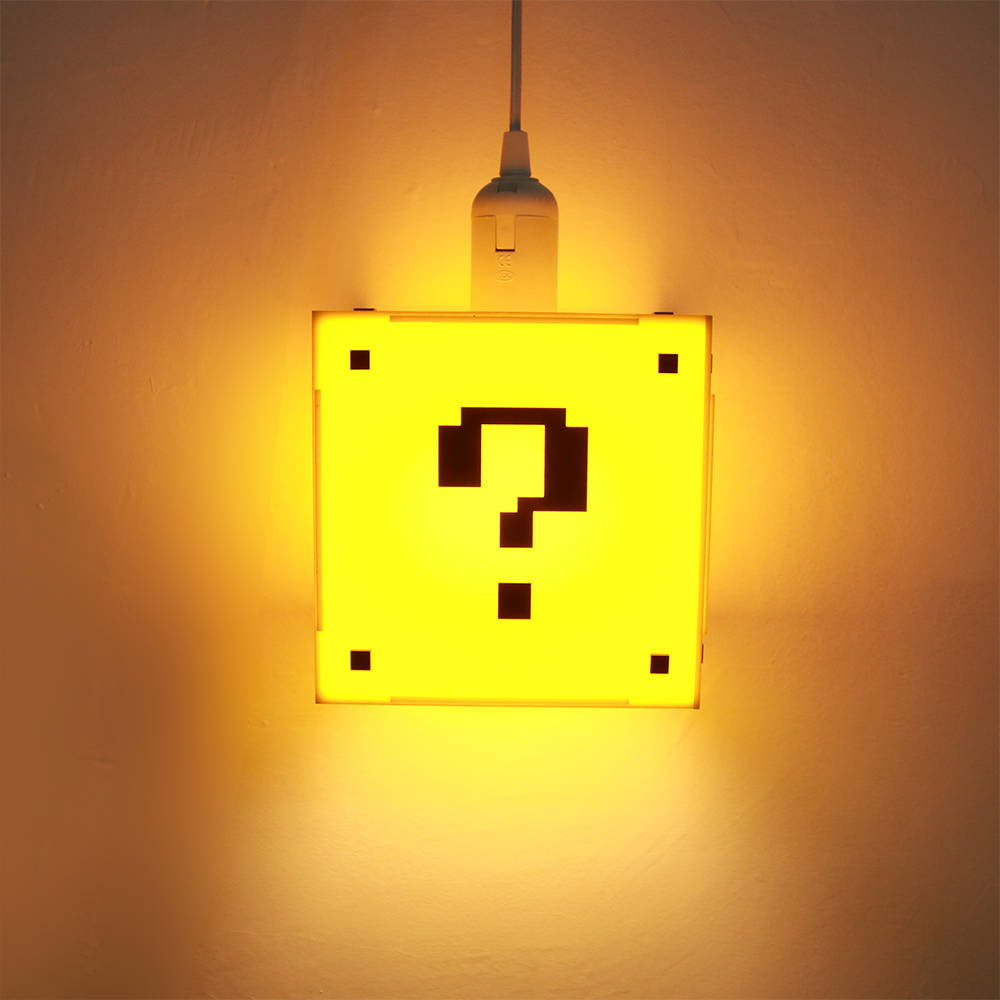 Classical Game Question Mark Shape Block Hanging Lamp Game Room Lighting Kid Room Decor Pendant Light Modern Ceiling Lighting