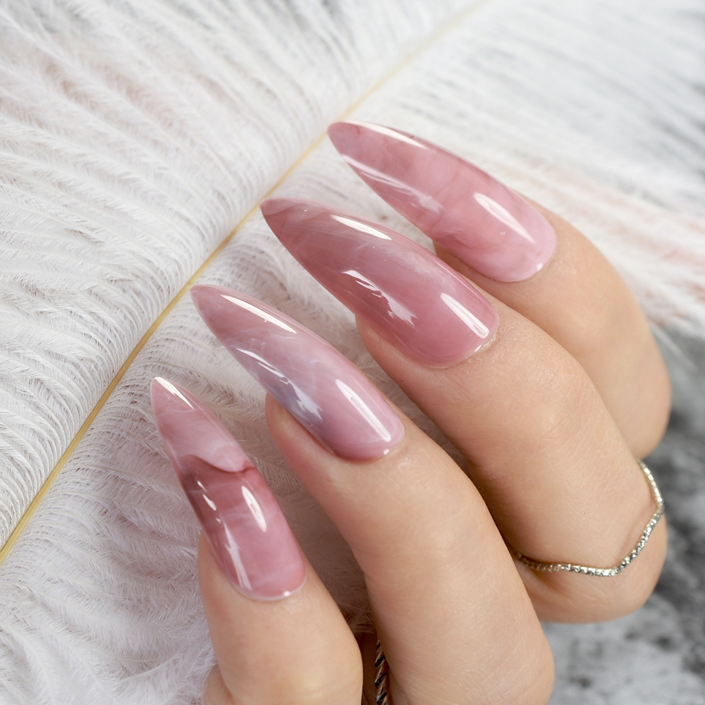Extra Long STILETTO False Nails Pre-designed Curved Pink Marble Press On Nails Including Glue Sticker