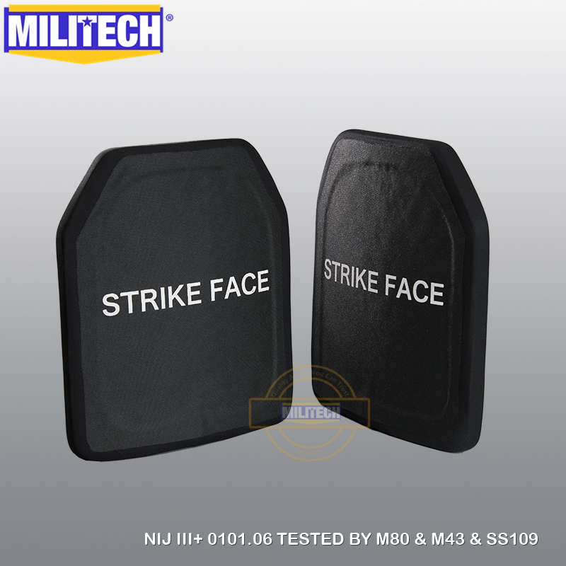 MILITECH Two Pcs SIC & PE NIJ Level III+ Bulletproof Plate Level 3+ Stand Alone Ballistic Panel AK47 & SS109&M80 FREE SHIPPING