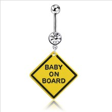 Baby on Board Sign Pregnancy Belly Ring Flexible Belly 14g(China)