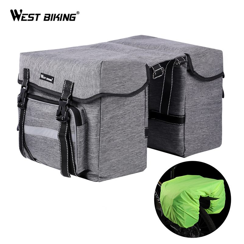 WEST BIKING Bicycle Rear Bag 25L Bike Rear Seat Trunk Bag Pannier Bag Luggage Carrier Outdoor Rain Cover Fietstassen Cycling Bag in Bicycle Bags Panniers from Sports Entertainment