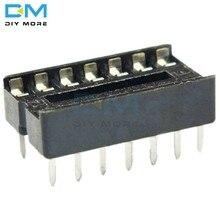 50 pces 14 pinos 14 p 14pin dip ic soquete adaptador tipo de solda soquete passo dupla limpeza contato dip-14
