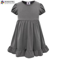 Borsung девочек летнее хлопковое плиссированное платье для малышек Обувь для девочек одноцветное Цвет Платья для женщин 2017 Дети платье для мал...