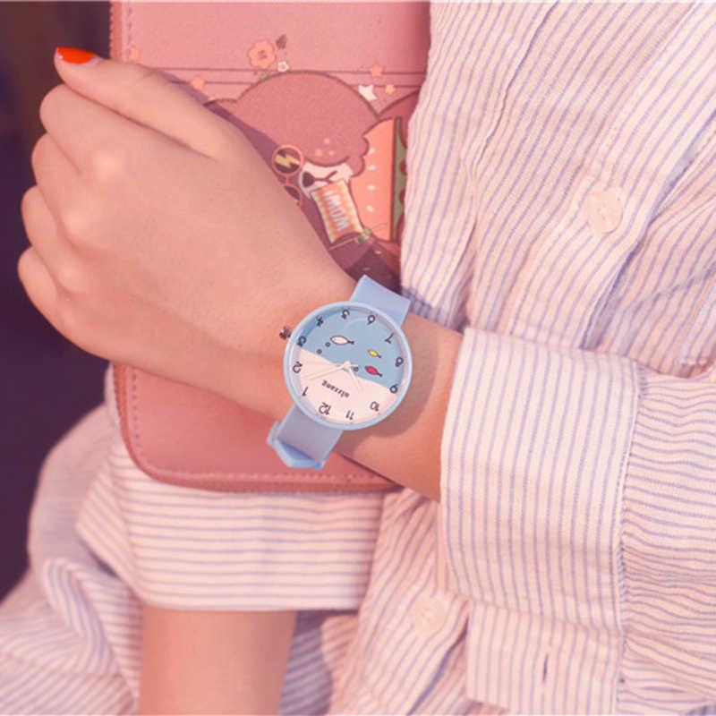 Ulzzang אופנה לילדים שעונים חמוד קריקטורה דגי חיוג ילדה סטודנט סיליקון רצועת ילדים עמיד למים קוורץ שעון יד שעון