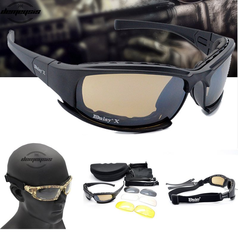 Army Goggles Sunglasses Men Military Occhiali da sole Male 4 Kit lenti per War Game da uomo Occhiali tattici Outdoor