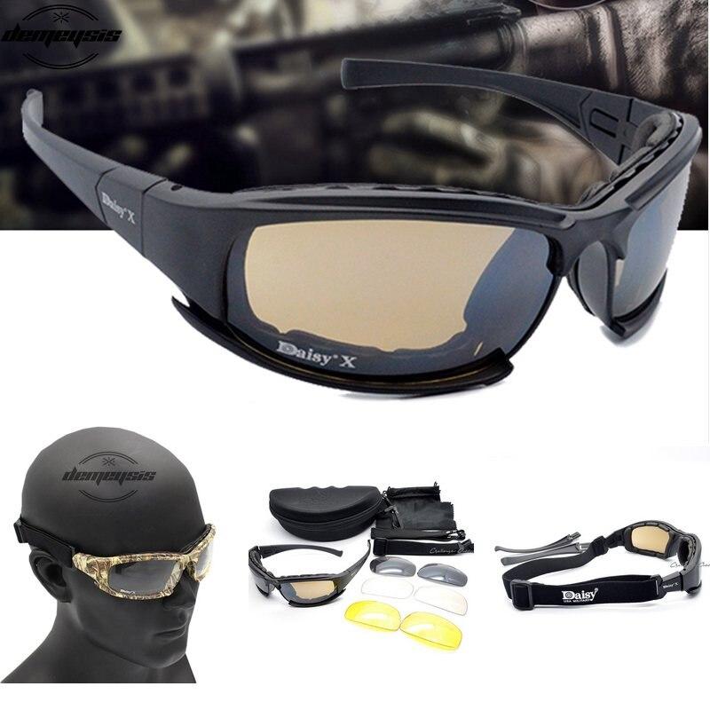 b7aa84389917d Óculos de Proteção para o Jogo Táticos ao ar Sol dos Homens do Exército Kit  para o Óculos de Militar x7 Masculino Óculos Sol 4 Lens Jogo Guerra Livre  dos ...