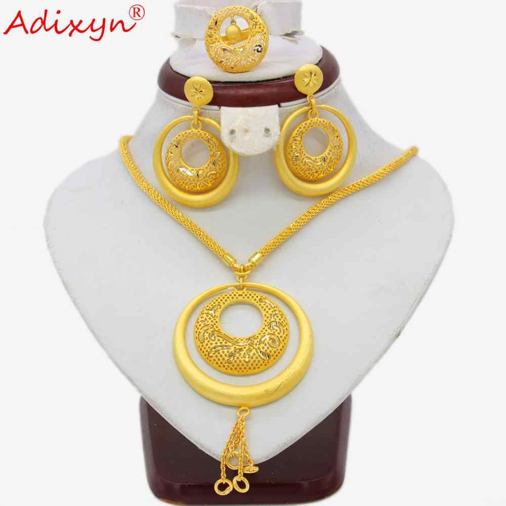 Adixyn India Big Heavy Jewelry Set Gold Color Long Necklace/Earrings/Ring/Pendant For Women African Wedding Jewelry Gifts N04197
