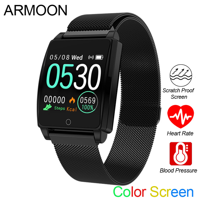 Smart Sports Watch Men Women Heart Rate Bracelet Blood Pressure Sleep Monitor Fitness Tracker Waterproof Android IOS Color Band-in Smart Wristbands from Consumer Electronics