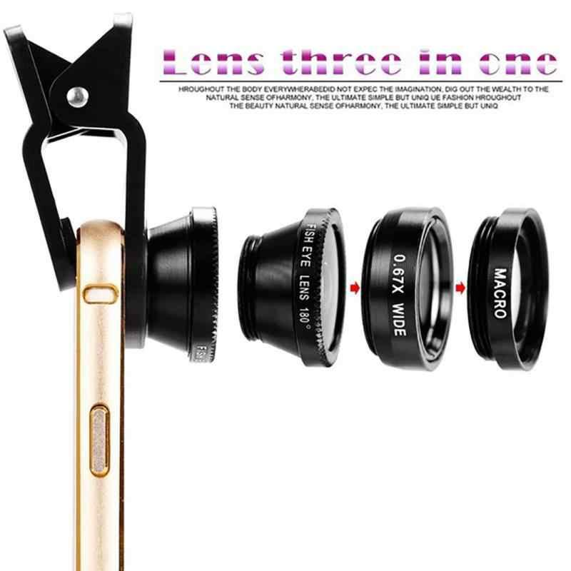 3in1 クリップ携帯電話カメラレンズキット 180 度魚眼レンズ + 広角 0.67X マクロユニバーサル外部レンズ携帯電話用