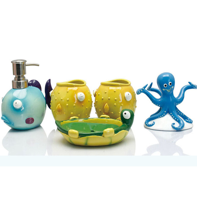 Lovely Cute Kids Resin Bathroom Accessory Sets 5pcs/set Blue Fish Soap Dispenser  Yellow Fish Tumblers