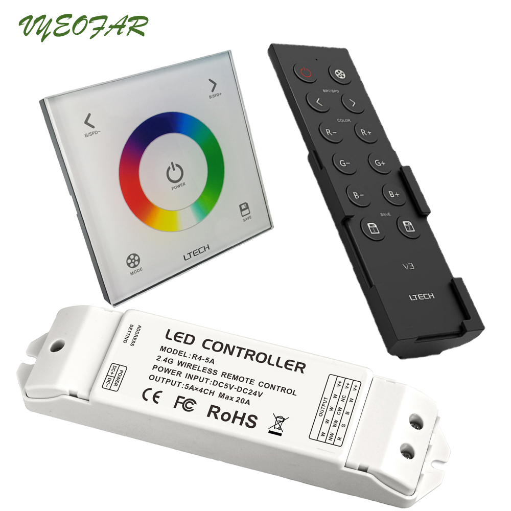 Ltech Led Rgb Controller 100-240V Wall Mount Glass Touch Panel 2.4GHz and DMX512 Strip Controller V3 Remote R4-5A R4-CC Receiver r4 5a