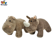 25cm Simulatioon Soft Plush Rhino Hippo Toy Stuffed Doll Toys Hippos Wild Animals Children Kids Baby Student Special Gift Triver цена 2017
