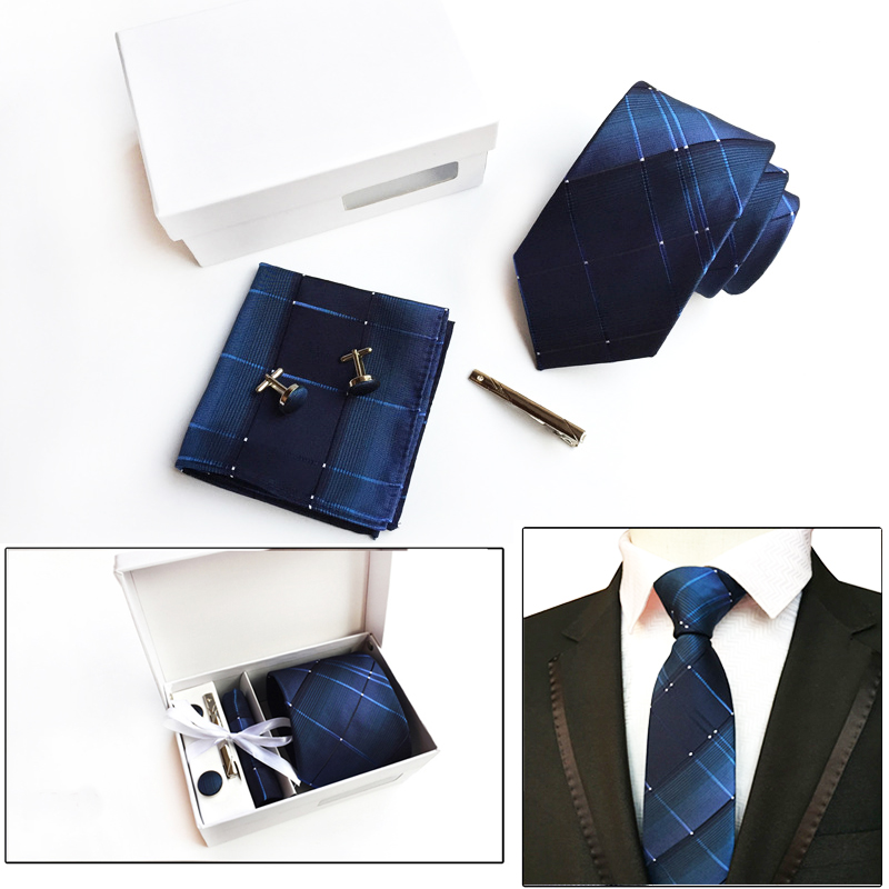 Fashion  8 cm 2018 Ties Elegant Gift Box Packed Polyester Striped Neck Ties For Men Luxury Gift Men's Accessories Grooms Gift