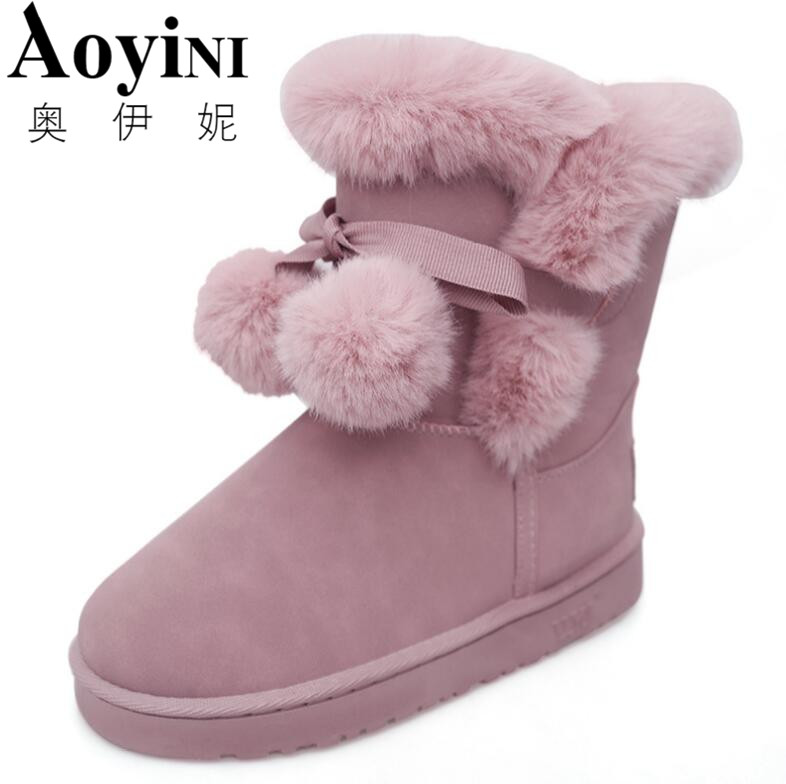 New Arrival Plush Butterfly Knot Female Warm Shoes 2017 Winter Snow Boots Ladies Lovely Pompon Fur Mid Calf Boots 5pcs lot 3s li ion lithium battery protection circuit board 3 cell pcb 10 8v 11 1v 12v 4a free shipping