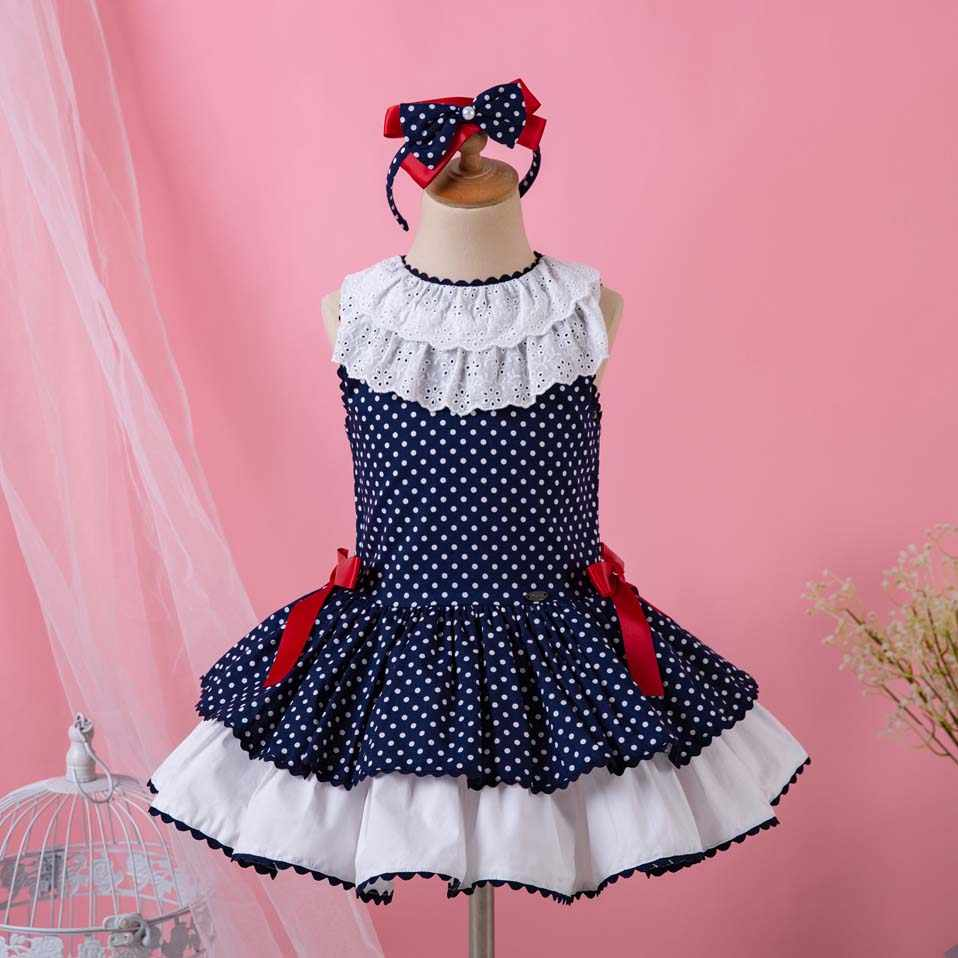 Pettigirl New Arrival Summer Dot Baby Dresses For Girls With Headwear  Fashion Girl Dress Boutique Kids 517379e56655